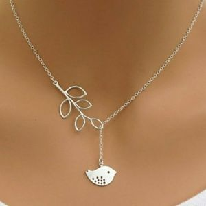 Delicate Bird & Branch Slip Necklace